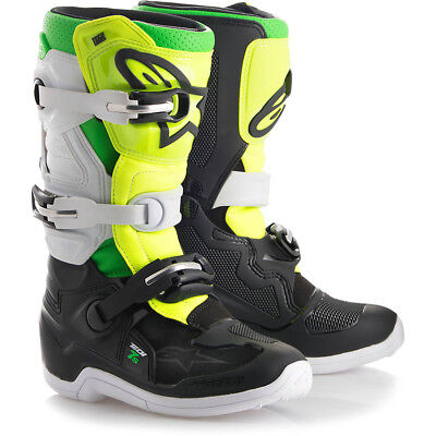Alpinestars NEW MX 2018 Tech 7s Prodigy Black White Green Kids Motocross Boots