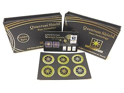 Qty 6 Cell Anti Radiation Stickers EMF Protection Quantum Shields Golden Color