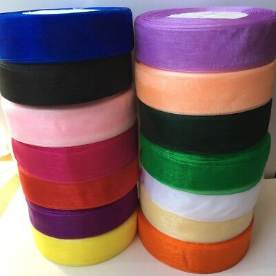 "5 yds 1"" 25mm Organza Ribbon Gift Wrapping wedding festival Variety Sheer #441"