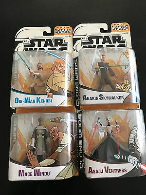 NEW Star Wars Clone Wars Animated Lot of 4 Action Figure -MIB-Hasbro 2005