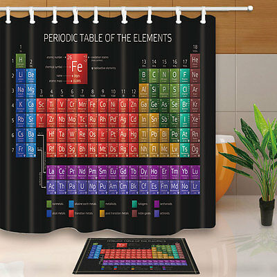 Periodic table of elements Bathroom Shower Curtain Waterproof Fabric w/12 Hooks