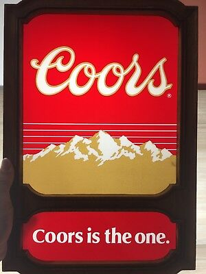 Vintage Coors Beer Advertisement Display Sign Bar Plaque Dated 1981 Mountains