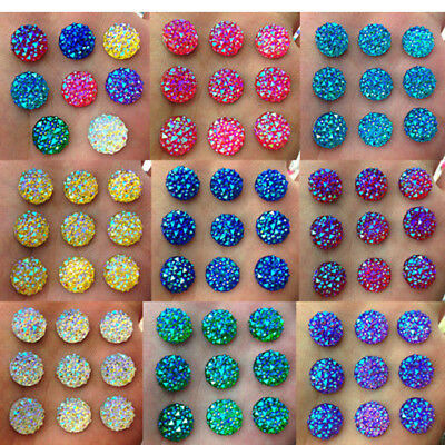 40pcs 12mm Round AB Resin Flatback Scrapbooking for Phone/Wedding Craft Reliable