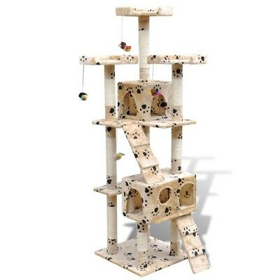 New Cat Tree Cat Scratcher Cat Tower Activity Post 170 cm Beige with Pawprints