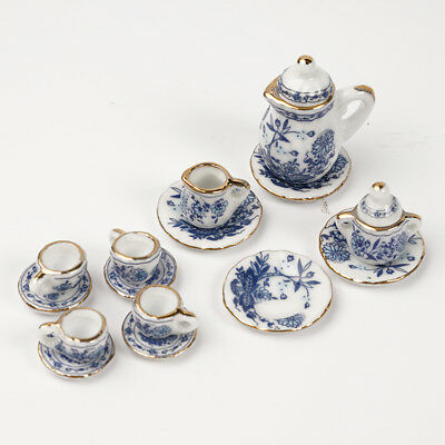15PCS/Set Blue Flower Dining Ware Ceramic Tea Set for 1:12 Dollhouse Miniatures