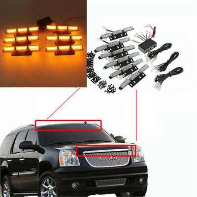 12V 54 LED Car Amber Flashing Emergency Recovery Vehicle Strobe Grille Lights