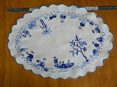 ASIAN FISHING VILLAGE Blues Hand Embroidered Large Doily on White Cotton VINTAGE