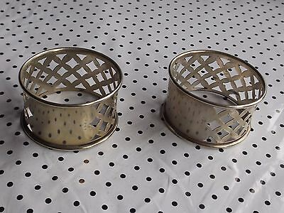 TWO VINTAGE 1950's  NAPKIN RINGS  OPEN FRETWORK