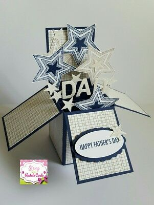 Handmade card, card in a box, Navy/tan stars Fathers Day Card for dad, dads day