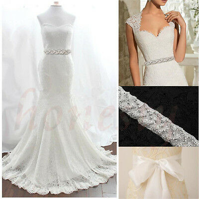 Thin Rhinestone Bridal Sash Pearl Crystal Wedding Dress Belt Ivory Pearl Gift