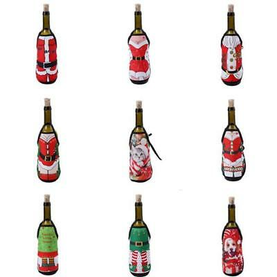 SANTA SNOWMAN Wine Bottle APRON Cover Christmas Holiday Party Embroidery LH