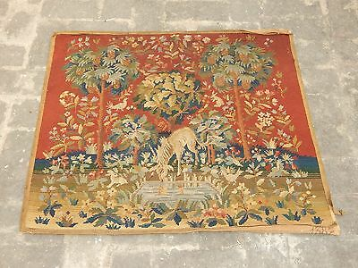 Vintage French Aubusson Style Hand Made Madeival Tapestry 86x74cm (A862)