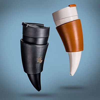 New Goat Horns Shaped Coffee Water Mug Insulation Vacuum Thermos Bottle Gift