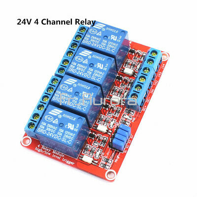 24V 4 Channel Relay Shield Module With OPTO-Isolated High and Low Level Trigger