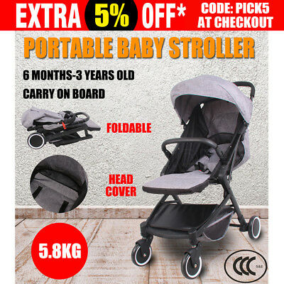 Portable Baby Stroller Pram Babytime Compact Lightweight Jogger Carry-on Gray