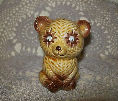 VINTAGE c.1950s CERAMIC KITSCH BEAR w/GOOGLY EYES PEPPER or SALT SHAKER 7.5cm