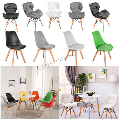 Eiffel Inspired Tulip Dining Chair Solid Wood Leg ABS Plastic Padded Seat Modern