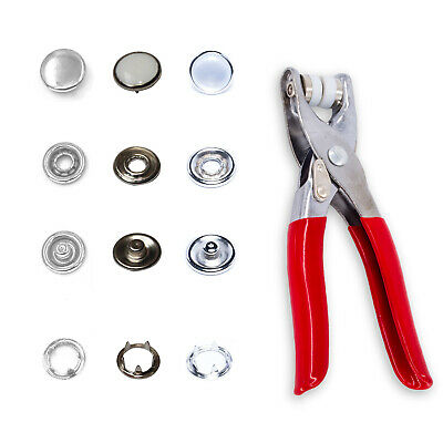100 x 12mm Pearl White Snap Poppers Prong Ring Fasteners Plier Leather Craft DIY