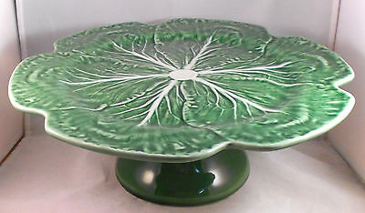 BORDALLO PINHEIRO GREEN CABBAGE PEDESTAL CAKE STAND Muffins Cupcakes Portugal