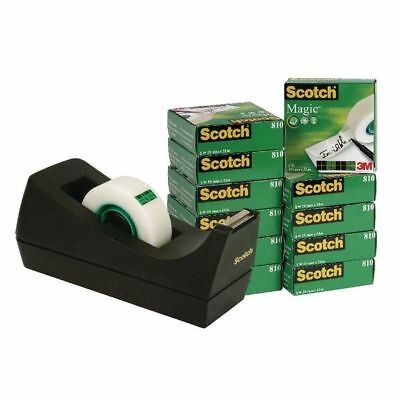 Scotch 19mm x 33m Magic Tape Pack of 12 with Free Black Dispenser ) [3M25910]