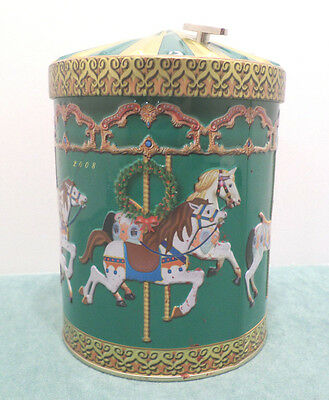 Vintage Metal Christmas Carousel Music Box made in Germany