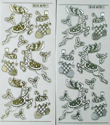 CHRISTMAS REINDEER STOCKINGS HOLLY Double Embossed Clear PEEL OFF STICKERS