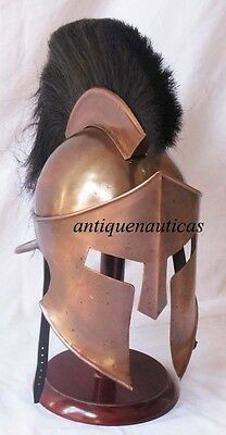 Movie 300 King Spartan Helmet Greek Warrior Helmet Black Plume with stand