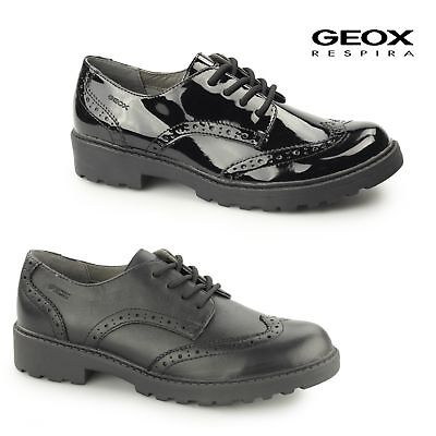 GEOX JR CASEY Girls Patent/Leather Uniform Lace Up School Shoes Brogues Black