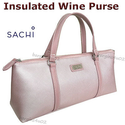 Sachi Wine Bottle Insulated Cooler Bag Tote Carrier Purse Handbag Blush New