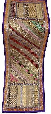 Ethnic Indian Patch Work Purple Wall Tapestry Table Runner Throw Gujarati Design