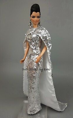 Silver Platinum Silkstone Barbie Fashion Royalty Evening Dress Outfit Gown Fits