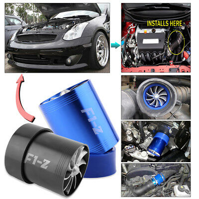 New Super Charger Double Turbonator Air Intake Fuel Saver Turbo Charger Fan AU