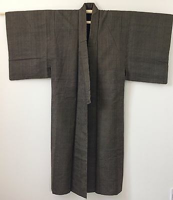 Authentic Japanese brown wool kimono for men, M, Japan import, used (M1600)