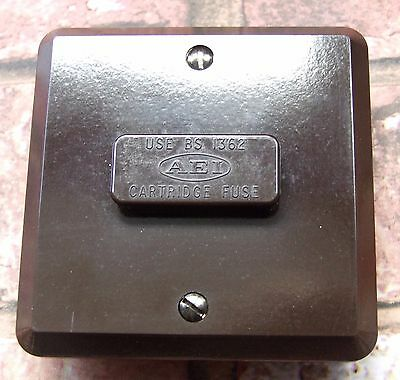 Restored Vintage Flush 13A Unswitched Fused Spur Brown Bakelite, AIE EDISWAN