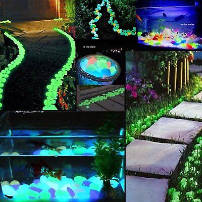 100 300x Glow in The Dark Stone Pebble Rock FISH TANK Stones Garden Road Decor