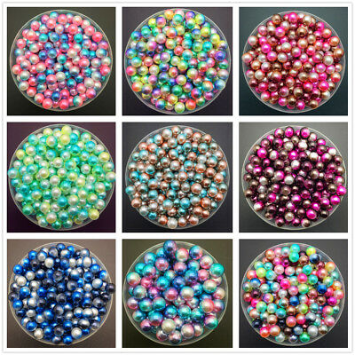 NEW 3/4/5/6/8mm Color Acrylic No Hole Round Pearl Loose Beads Jewelry Making J