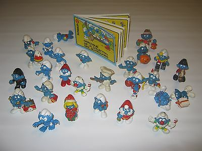 Vintage Peyo Smurfs 27 Figures Lot With French Schleich Catalog Pamphlet