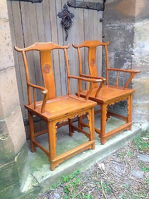 Pair Antique Qing Dynasty Chinese Polished Elm Yoke Back Chair Seat 19th Century