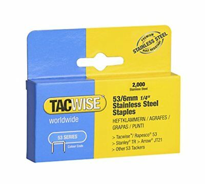 Tacwise Type 53 6 mm Stainless Steel Staples for Staple Gun  2000 Box