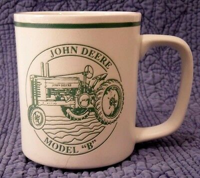 John Deere Model B Tractor History Coffee Mug Cup Embossed Green And White