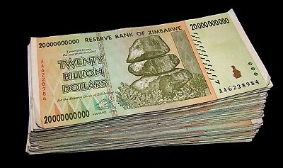 20 pcs x Zimbabwe 20 Billion Dollar banknotes-paper money currency-2008/AA or AB