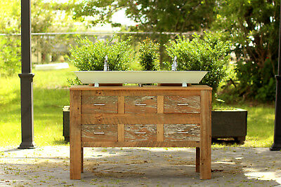 "Reclaimed 48"" Barn Wood Bath Vanity Steel Trough Sink Apothecary Chest Package"