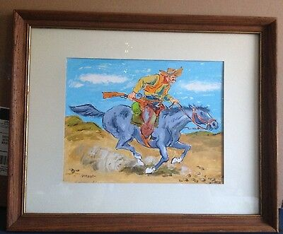 "Vintage 60's Western Fun Cowboy on Horse Oil Painting Framed Art Signed ""Pierre"""