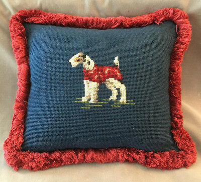 vintage needlepoint pillow w/ dog terrier scotty,fox,airedale perfect condition