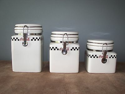 Coca Cola Ceramic Canisters - Set of 3 - White w/Checkerboard Design 2002