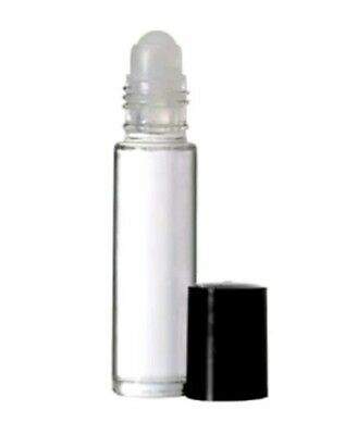 144 Bottles PLAIN 1/3 oz 10ml Clear Glass Roll on With BLACK Cap & Roller