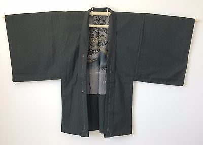 Authentic Japanese custom made grey wool haori jacket for men, large (Q1605)