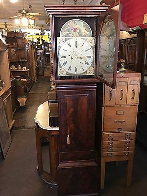Antique 1860s Flame Mahogany Tall Case Grandfather Clock Restored Nice Old