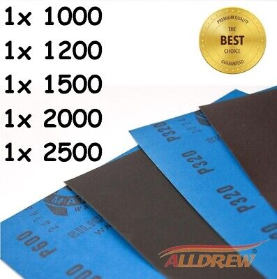Pack of 5 // 1000 1200 1500 2000 2500 Grit WET and DRY Sandpaper Sheets Mixed