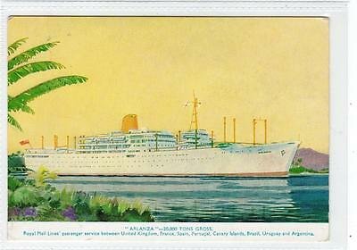 "RMS ""ARLANZA"": Royal Mail Lines shipping postcard with ship's cachet (C29345)"